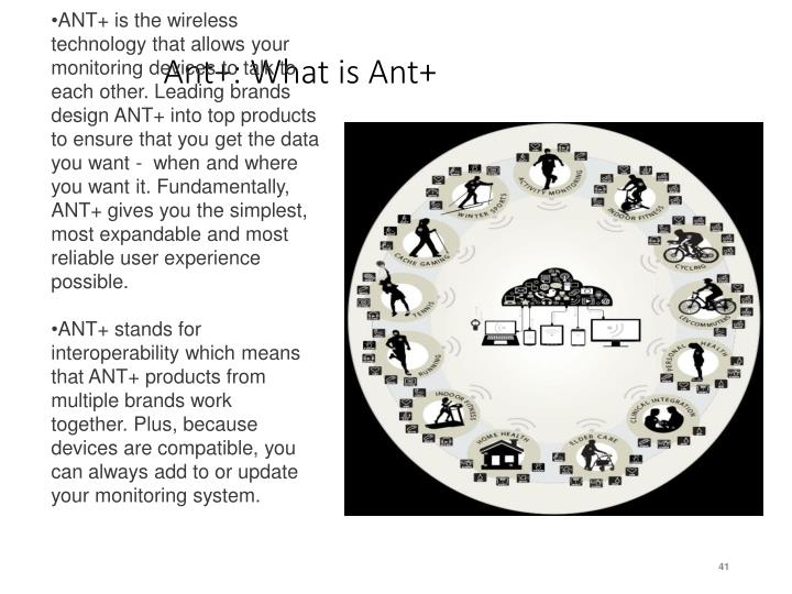 ANT+ is the wireless technology that allows your monitoring devices to talk to each other.Leading brands design ANT+ into top products to ensure that you get the data you want - when and where you want it. Fundamentally, ANT+ gives you the simplest, most expandable and most reliable user experience possible