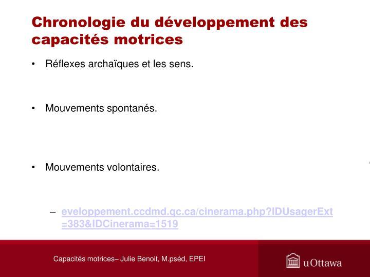 Chronologie du développement des capacités motrices