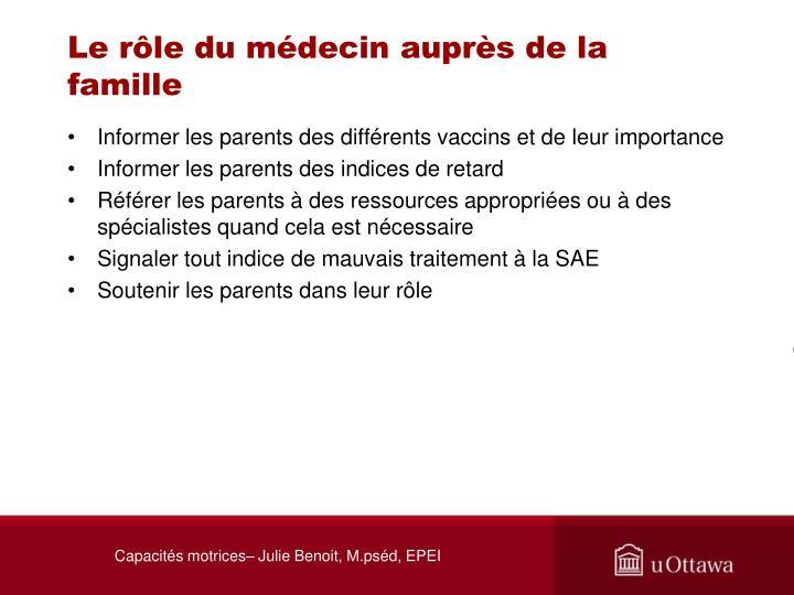 Le rôle du médecin auprès de la famille