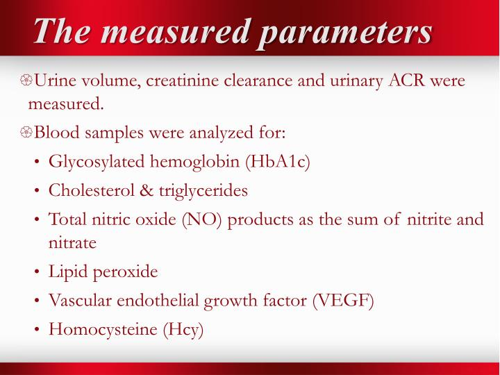 The measured parameters