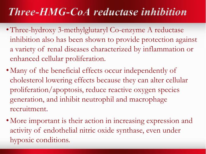 Three-HMG-CoA reductase inhibition