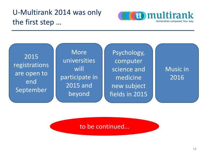 U-Multirank 2014 was