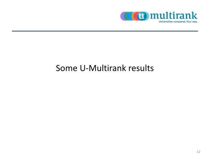 Some U-Multirank results