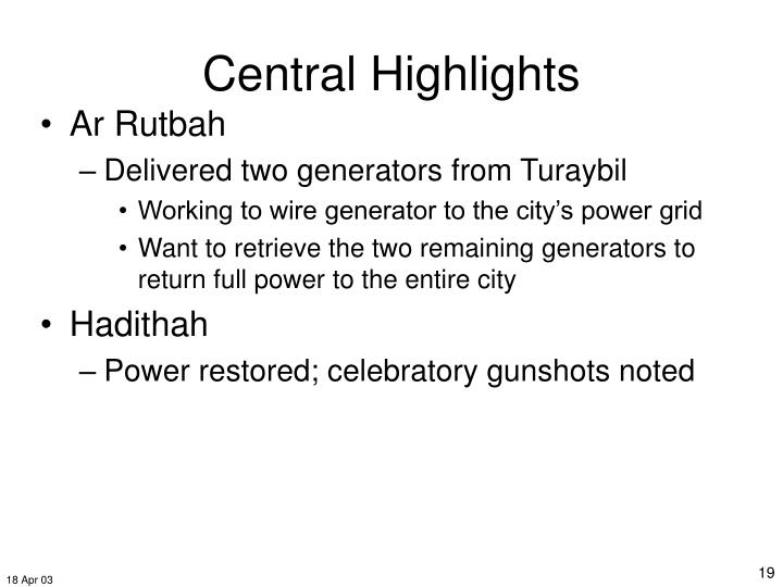 Central Highlights