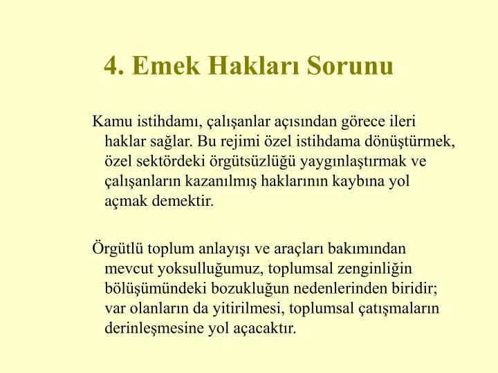 4. Emek Hakları Sorunu