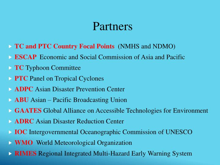 TC and PTC Country Focal Points