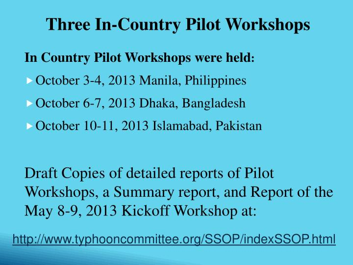 In Country Pilot Workshops were held