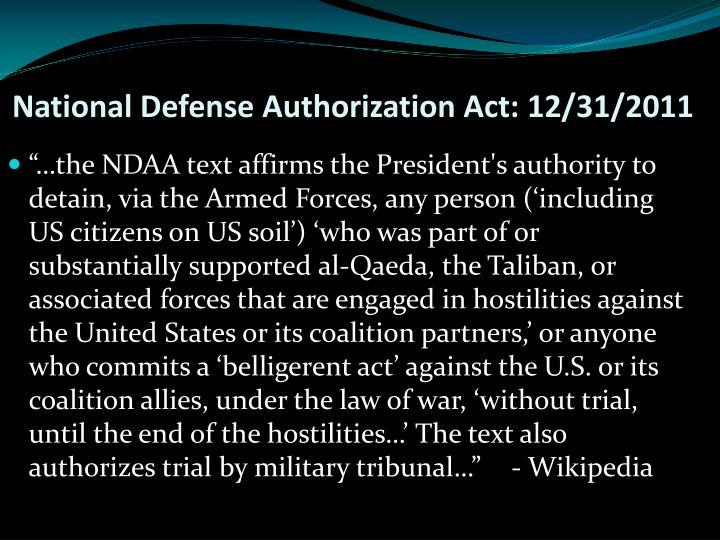 National Defense Authorization Act: 12/31/2011