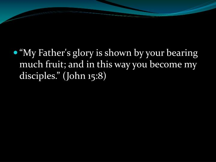 """""""My Father's glory is shown by your bearing much fruit; and in this way you become my disciples."""" (John 15:8)"""