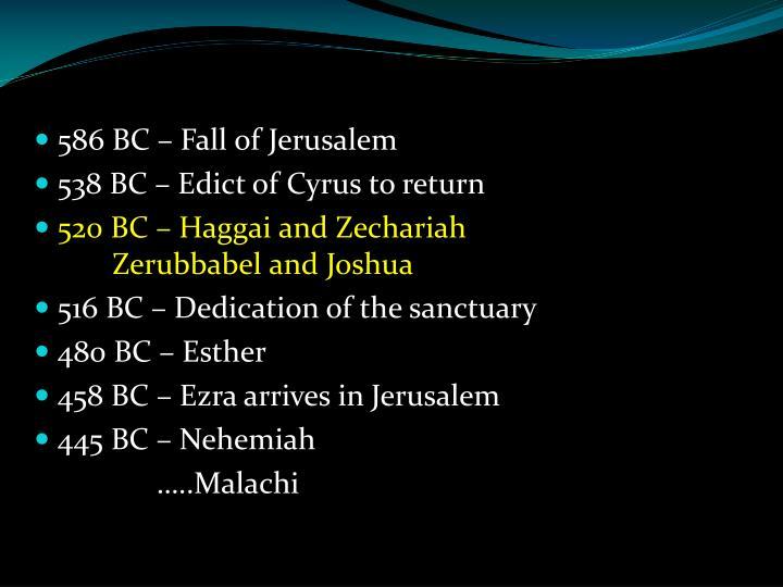 586 BC – Fall of Jerusalem