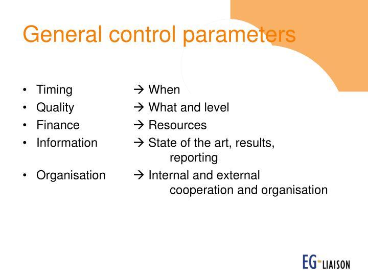 General control parameters