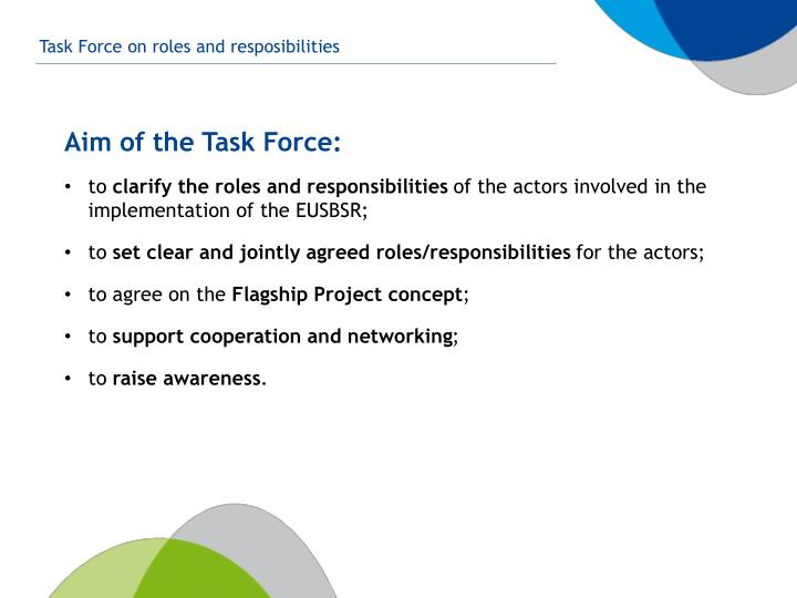 Aim of the task force