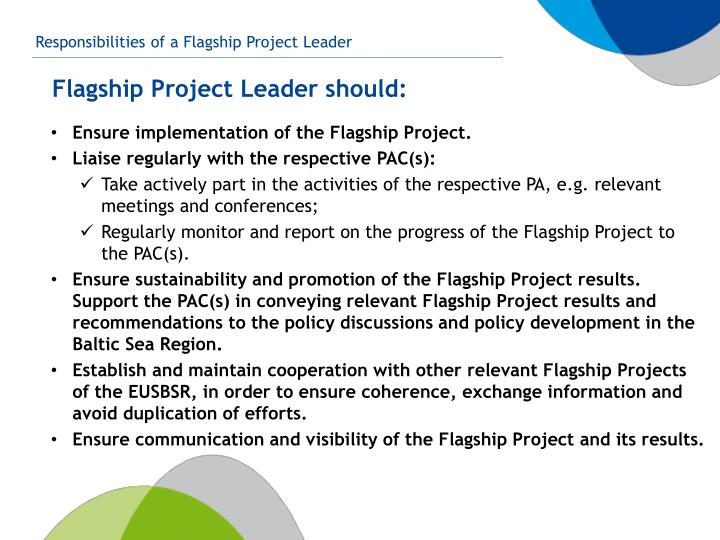 Ensure implementation of the Flagship Project.