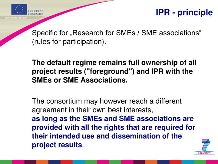 "Specific for ""Research for SMEs / SME associations"" (rules for participation)."