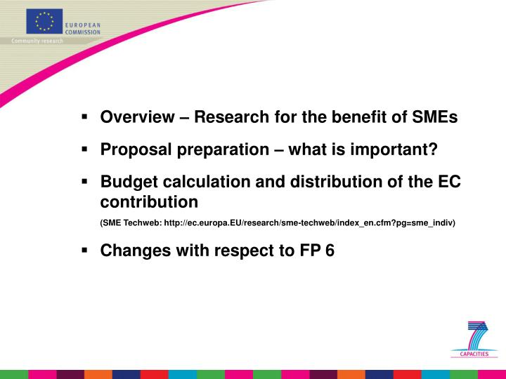 Overview – Research for the benefit of SMEs