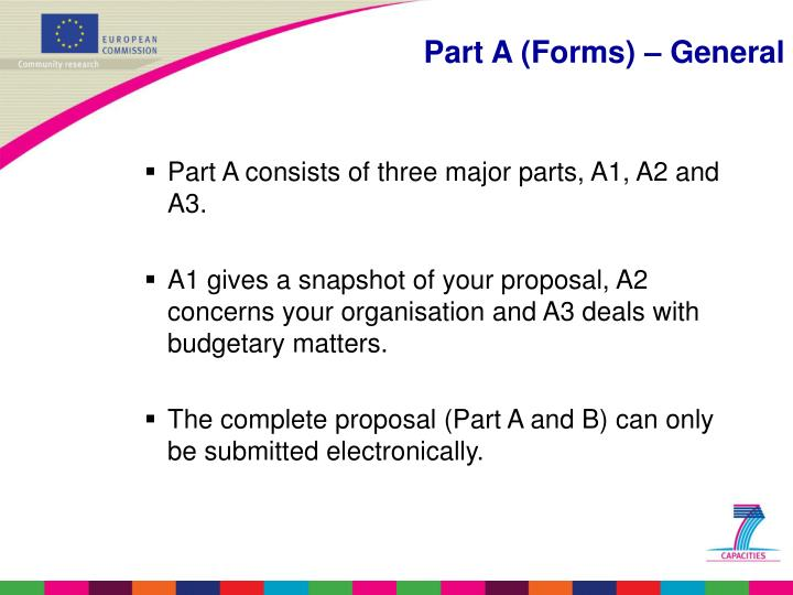 Part A consists of three major parts, A1, A2 and A3.