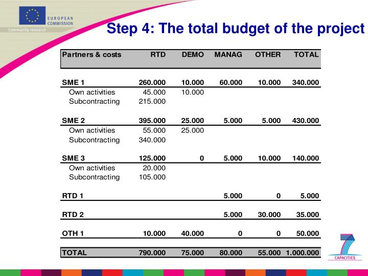Step 4: The total budget of the project