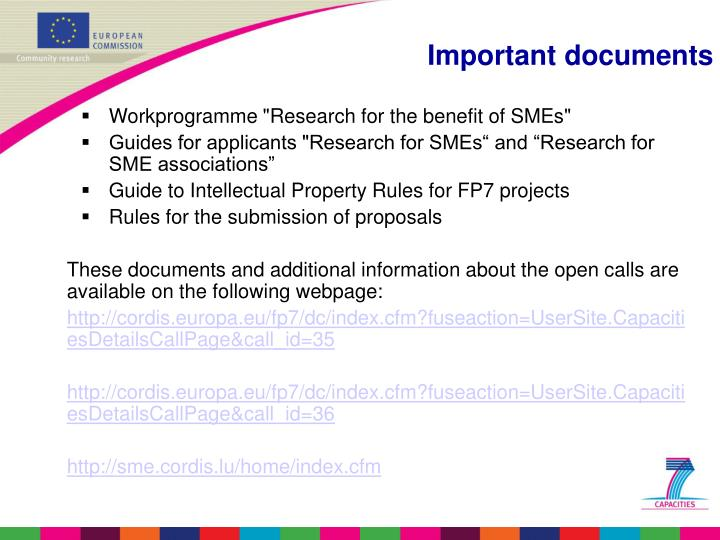 "Workprogramme ""Research for the benefit of SMEs"""