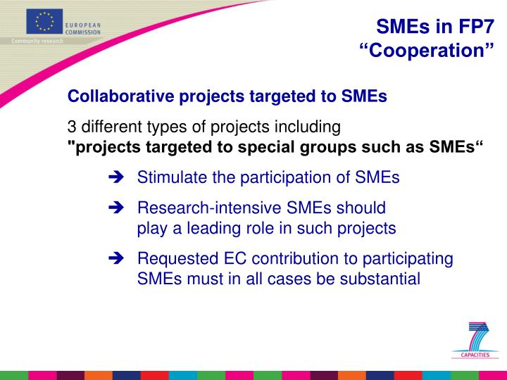 Collaborative projects targeted to SMEs