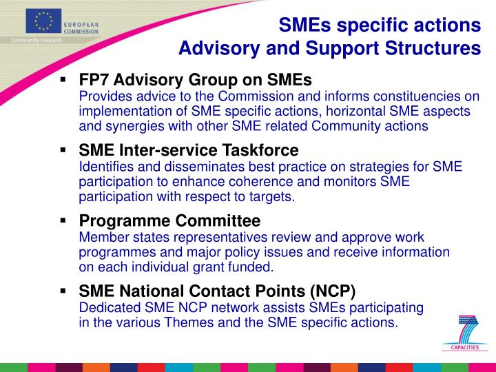 SMEs specific actions