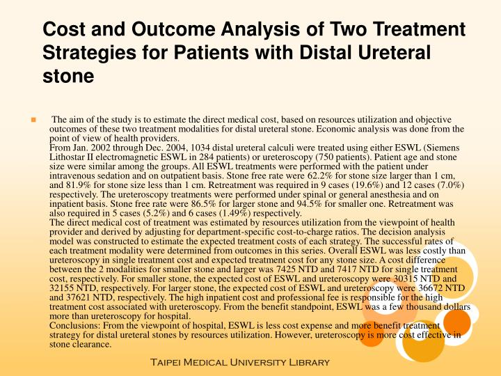 Cost and Outcome Analysis of Two Treatment Strategies for Patients with Distal Ureteral stone