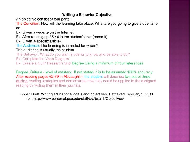 Writing a Behavior Objective:
