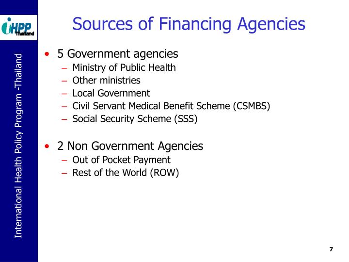 Sources of Financing Agencies