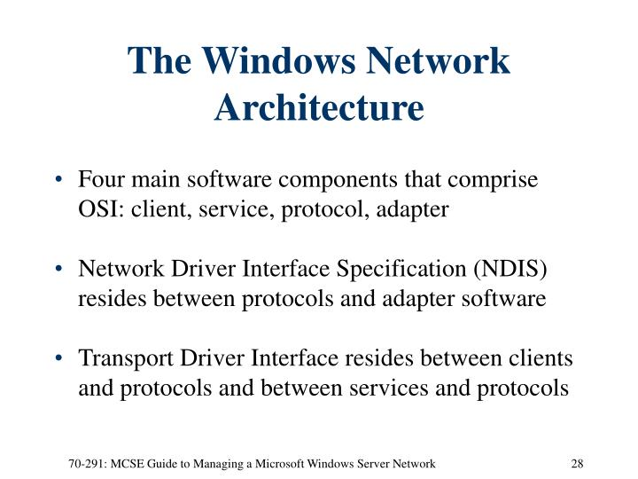 The Windows Network Architecture