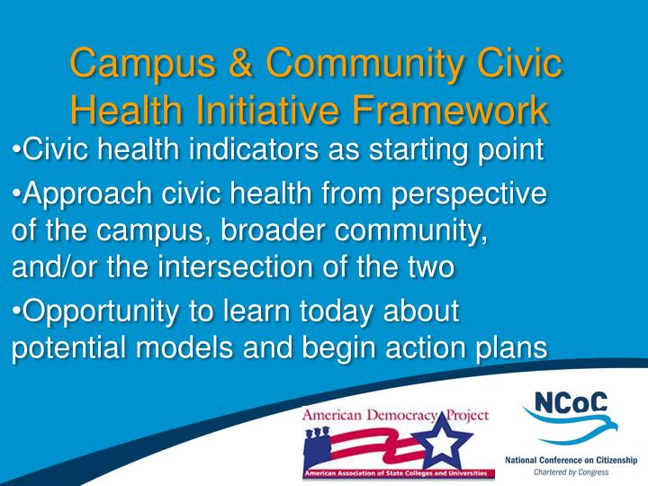Campus & Community Civic Health Initiative Framework