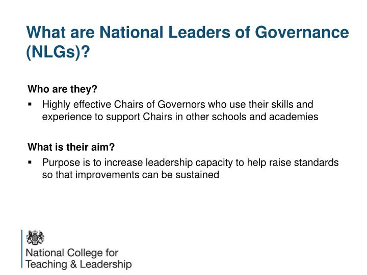 What are National Leaders of Governance (