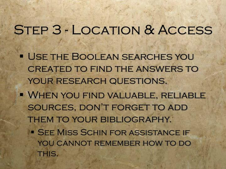 Step 3 - Location & Access