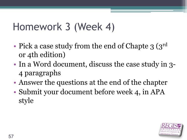 Homework 3 (Week 4)