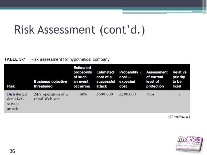 Risk Assessment (cont'd.)