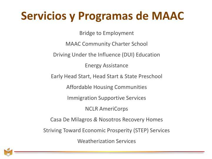 Servicios y Programas de MAAC