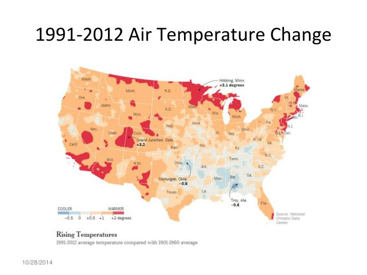 1991-2012 Air Temperature Change