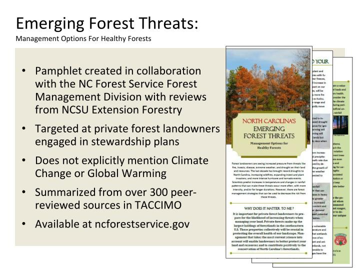 Emerging Forest Threats: