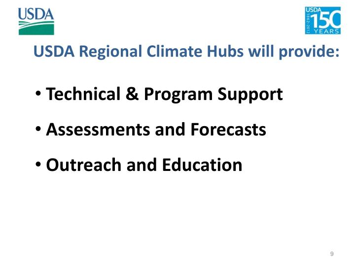 USDA Regional Climate Hubs will provide: