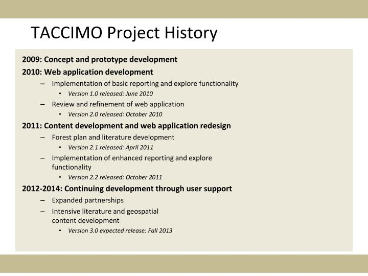 TACCIMO Project History