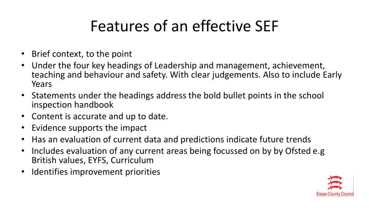 Features of an effective SEF
