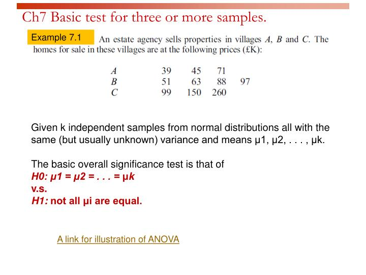 Ch7 Basic test for three or more samples.