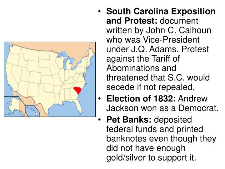 south carolina exposition and protest South carolina exposition and protest calhoun, then vice president under john quince adams and later under andrew jackson the document was a rotes against the tariff of 1828, also known as.
