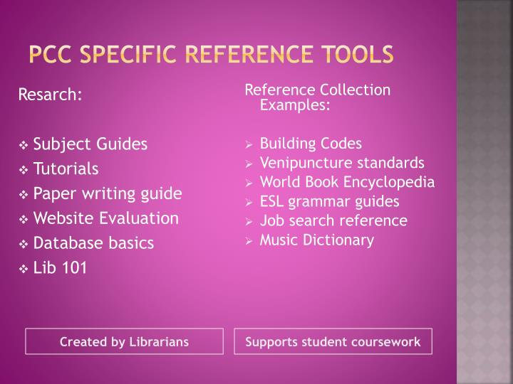 PCC Specific reference tools