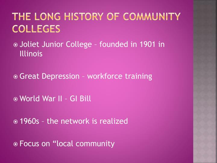 The long history of Community colleges