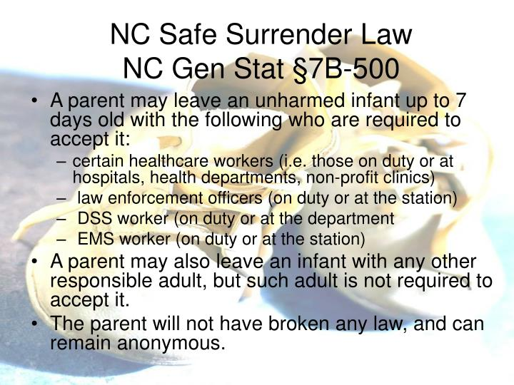 NC Safe Surrender Law