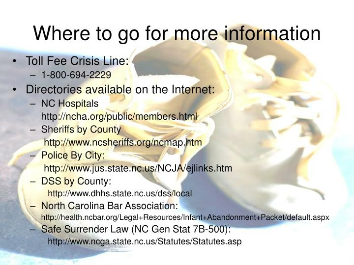 Where to go for more information