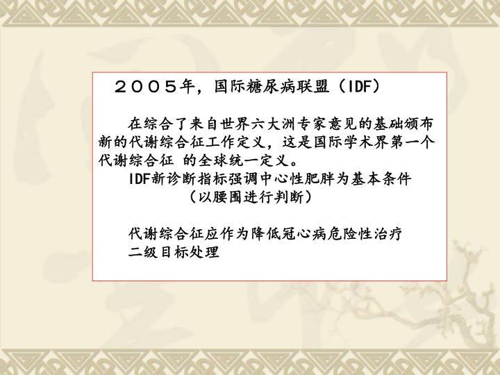 2005年,国际糖尿病联盟(