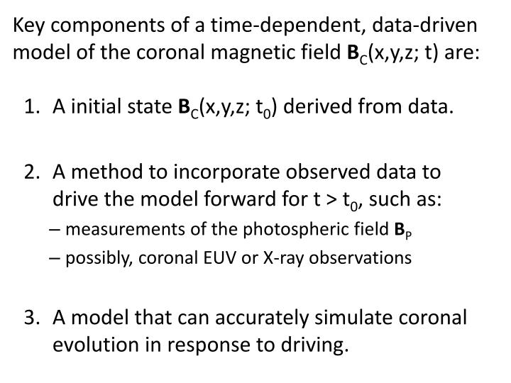 Key components of a time-dependent, data-driven model of the coronal magnetic field