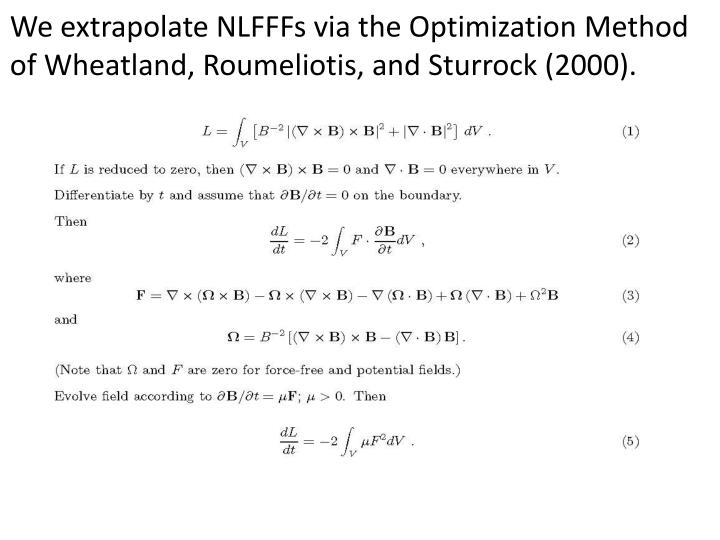 We extrapolate NLFFFs via the Optimization Method of Wheatland, Roumeliotis, and Sturrock (2000).