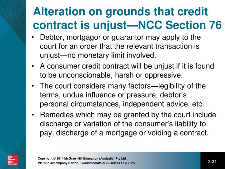 Alteration on grounds that credit contract is unjust