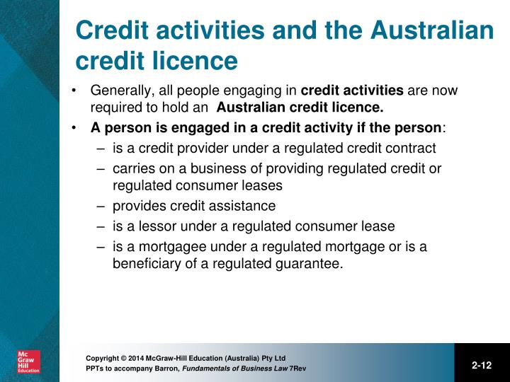 Credit activities and the Australian credit licence